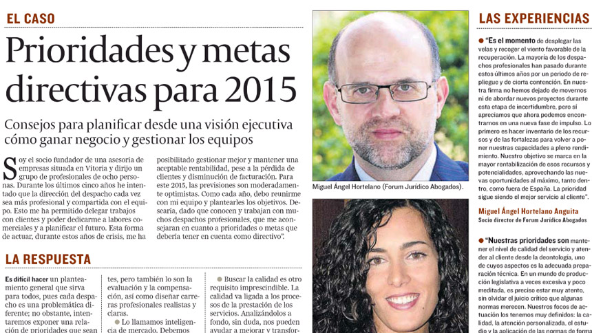 Prioridades y metas directivas para 2015