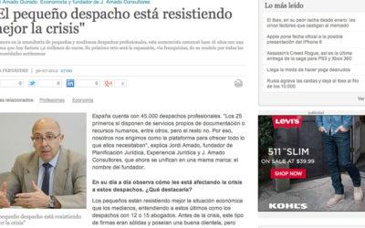"""Entrevista a Jordi Amado: """"El pequeño despacho está resistiendo mejor la crisis"""""""